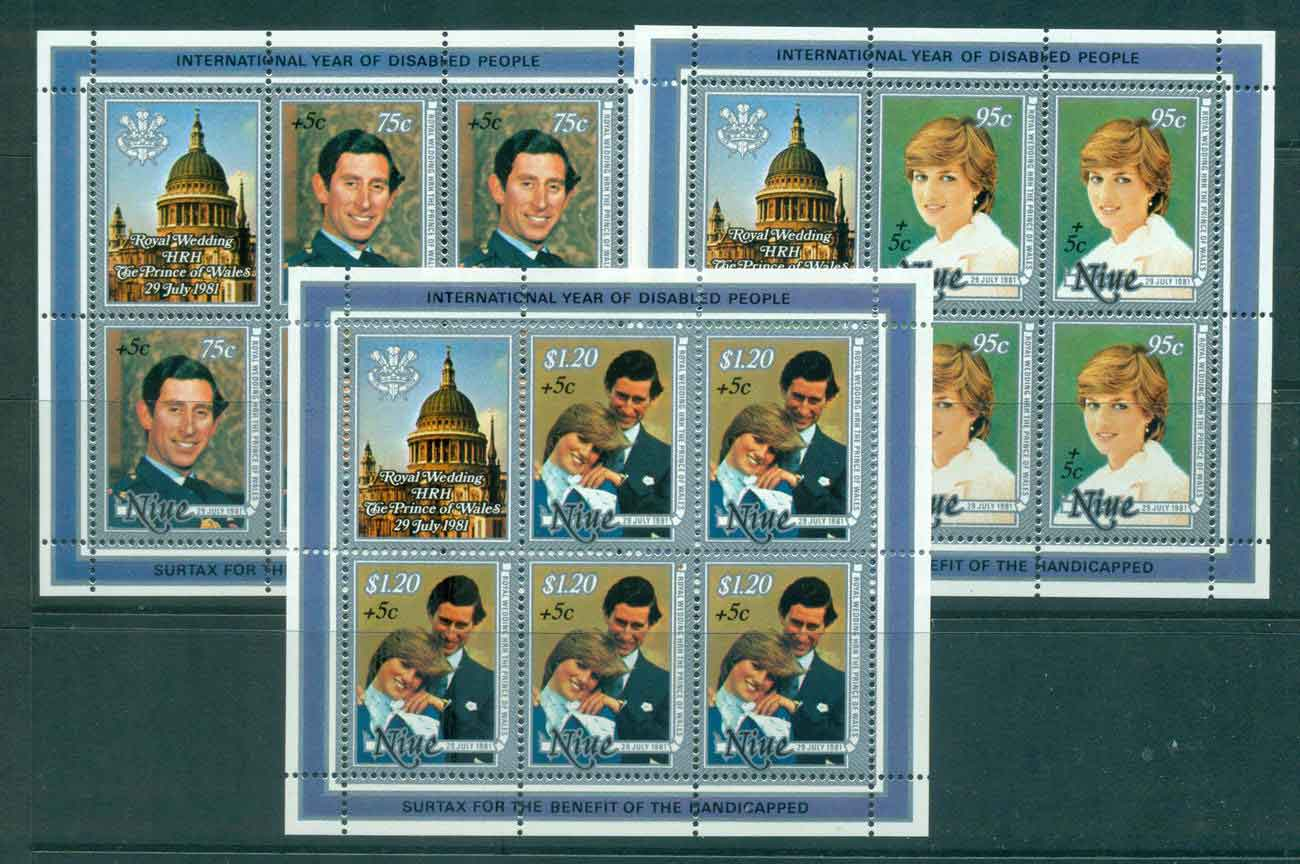 Niue 1981 Charles & Diana Wedding Surcharged 3x Sheetlet MUH Lot45133