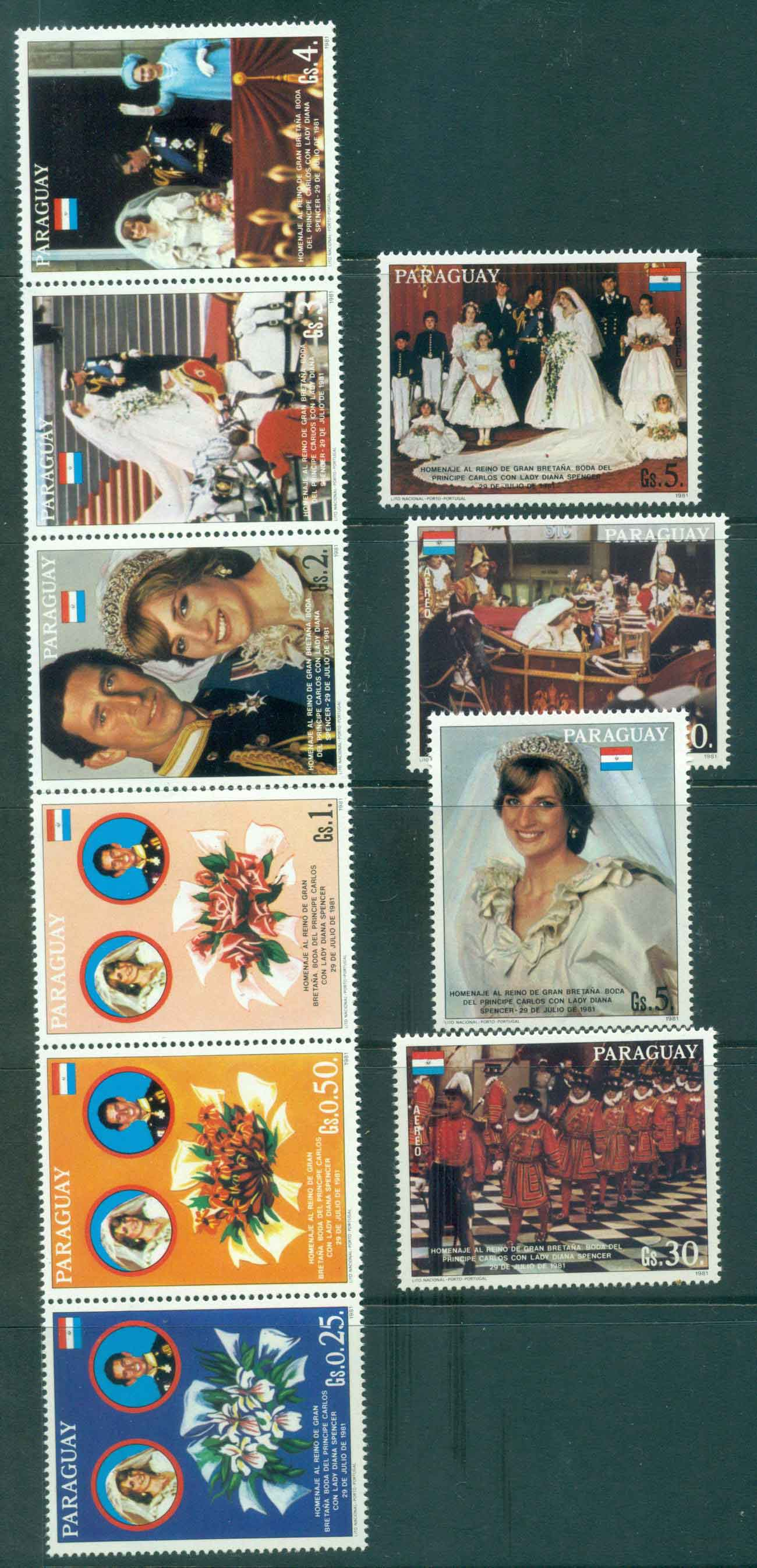 Paraguay 1981 Charles & Diana Wedding Str6 + 4 MUH Lot45152