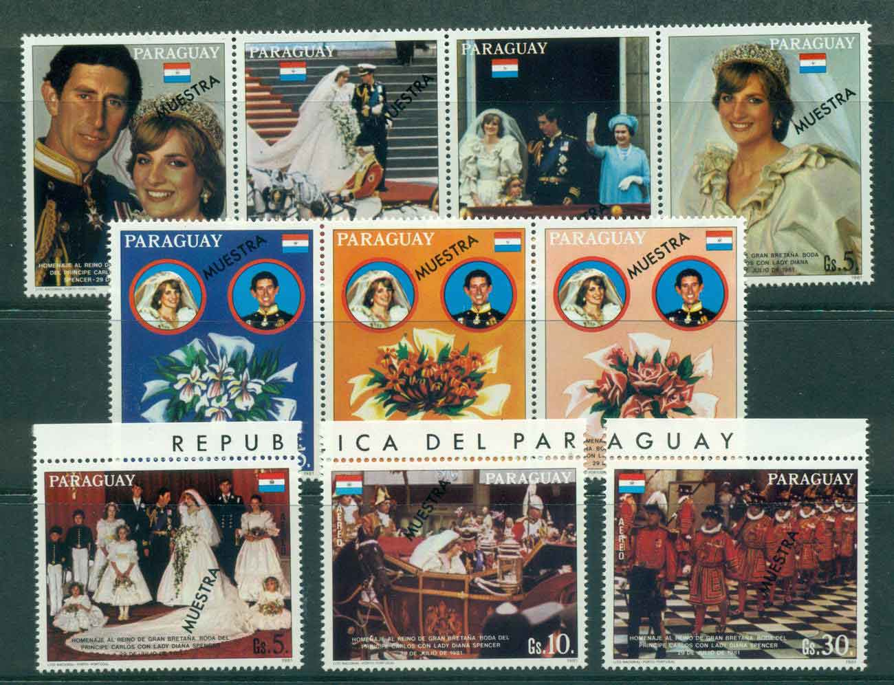 Paraguay 1981 Charles & Diana Wedding Str4,3 + 4 SPECIMEN (light creases)MUH Lot45153