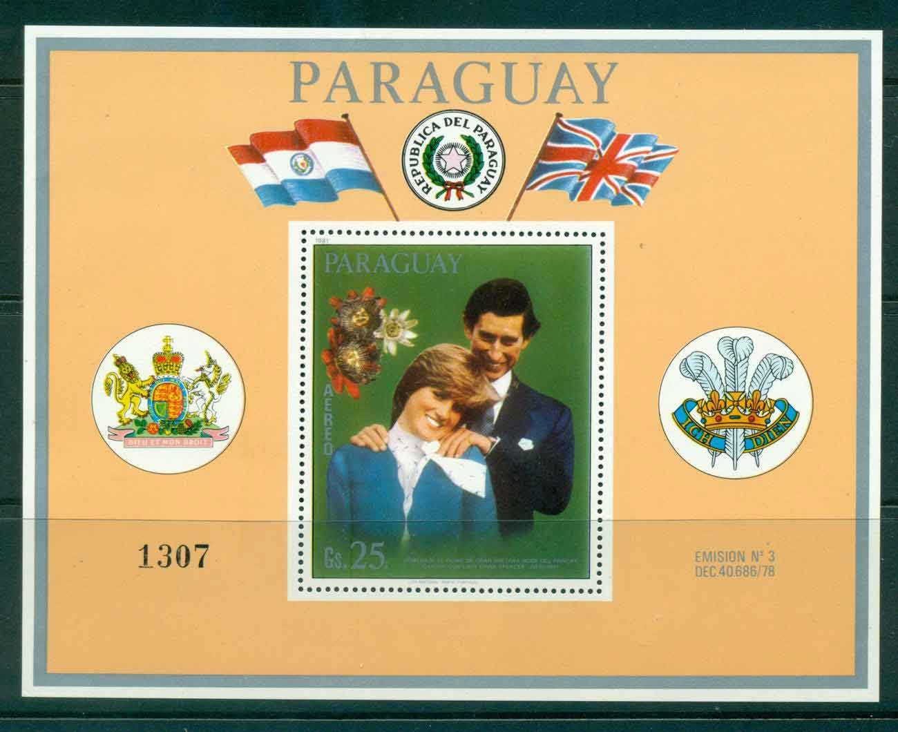Paraguay 1981 Charles & Diana Wedding MS Orange border MUH Lot45154