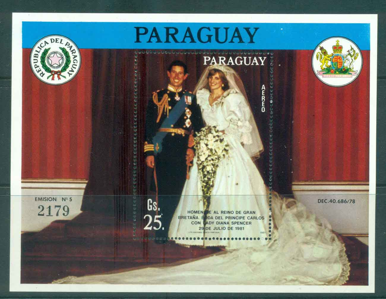 Paraguay 1981 Charles & Diana Wedding MS MUH Lot45156