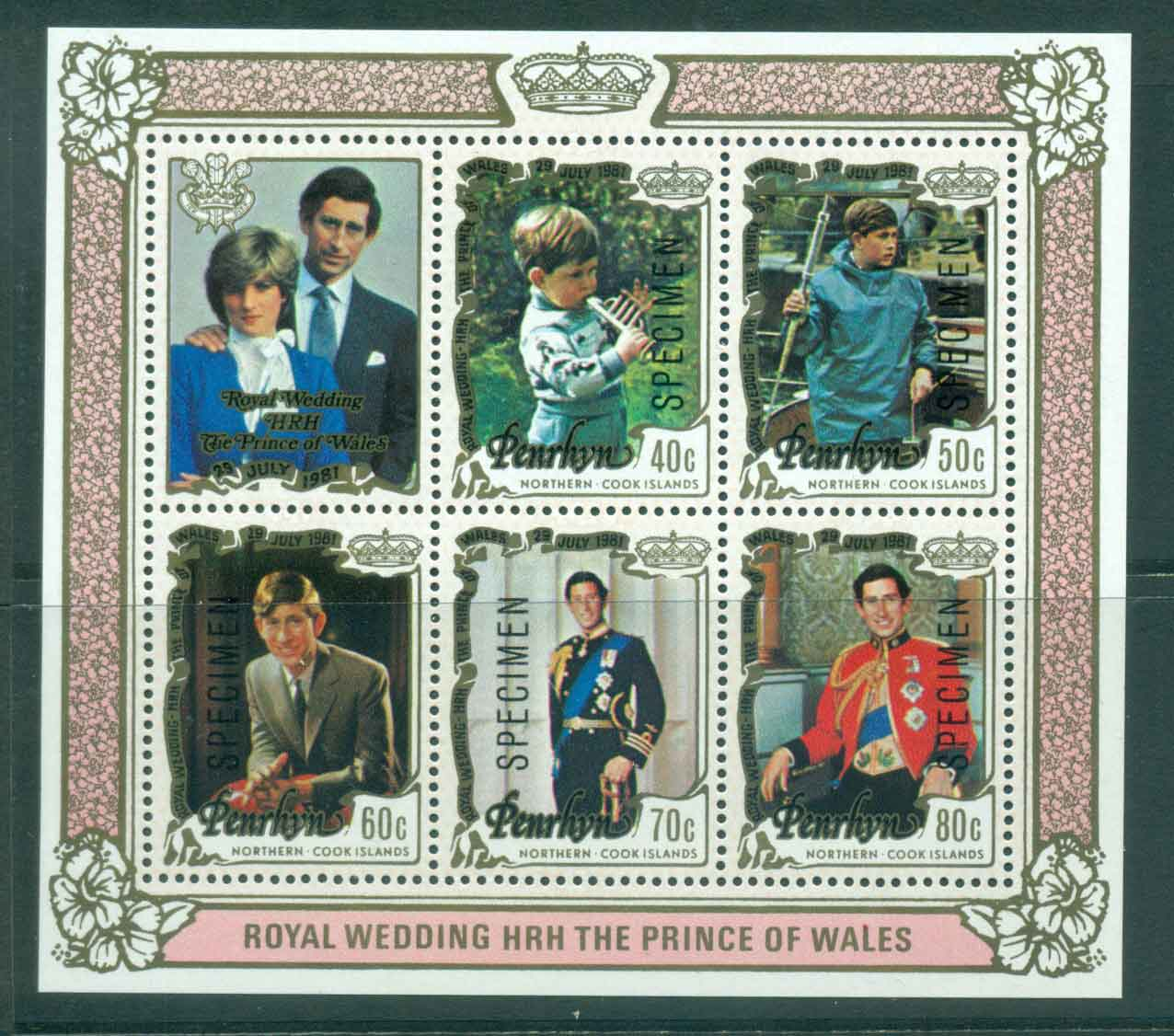 Penrhyn Is 1981 Charles & Diana Wedding MS SPECIMEN MUH Lot45166