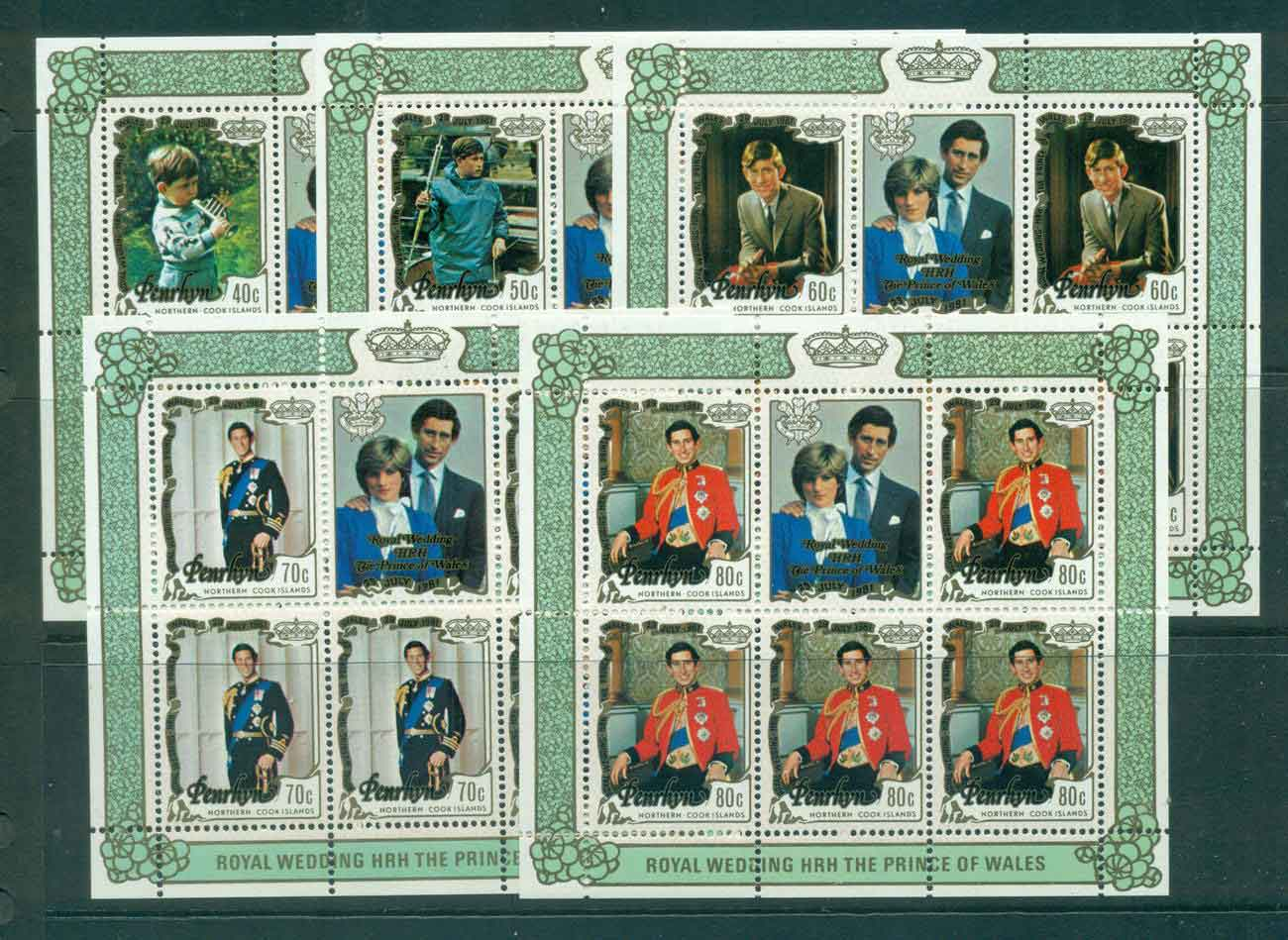 Penrhyn Is 1981 Charles & Diana Wedding 5x Sheetlet MUH Lot45167