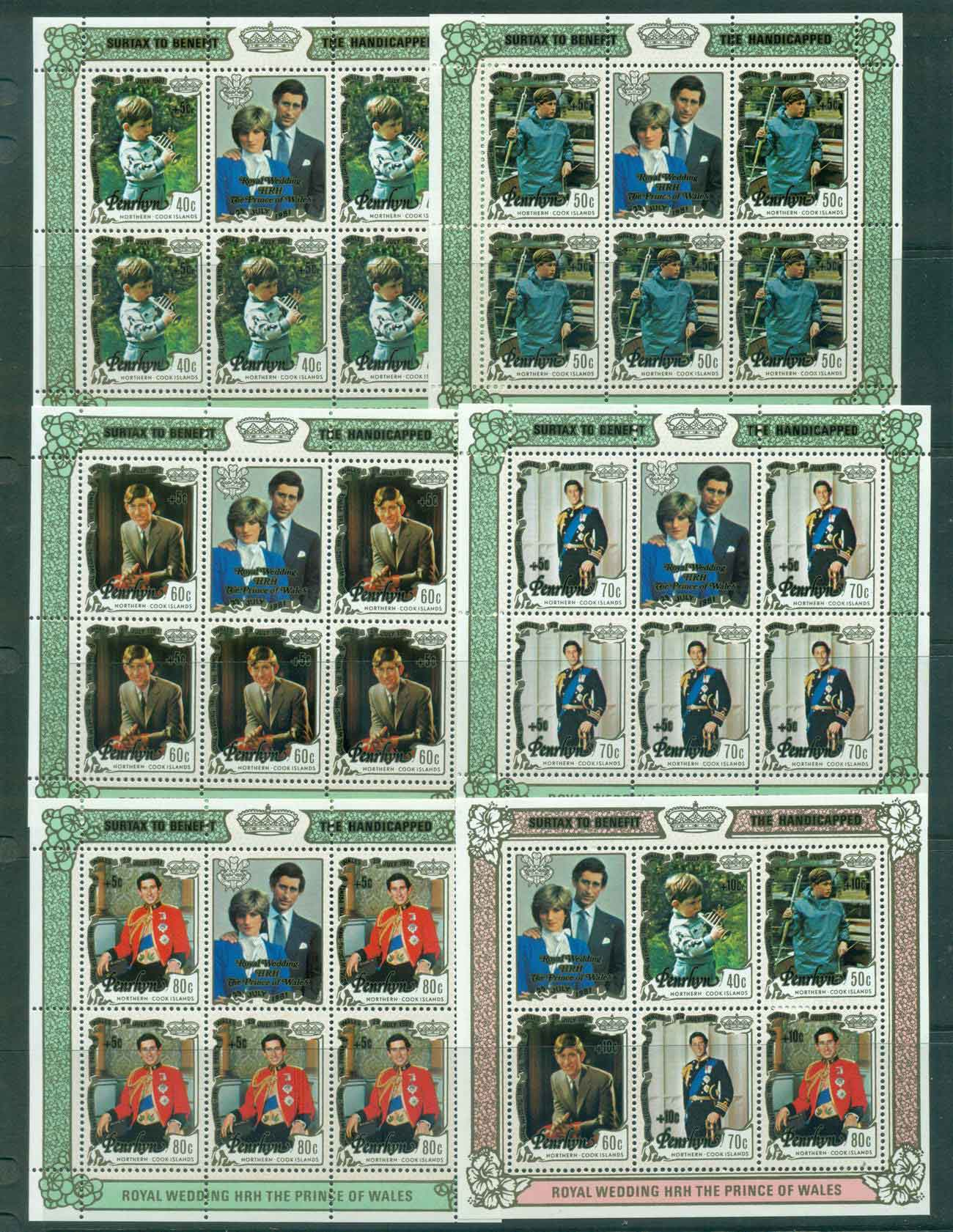 Penrhyn Is 1981 Charles & Diana Wedding Surcharged 5x Sheetlet + MS MUH Lot45168