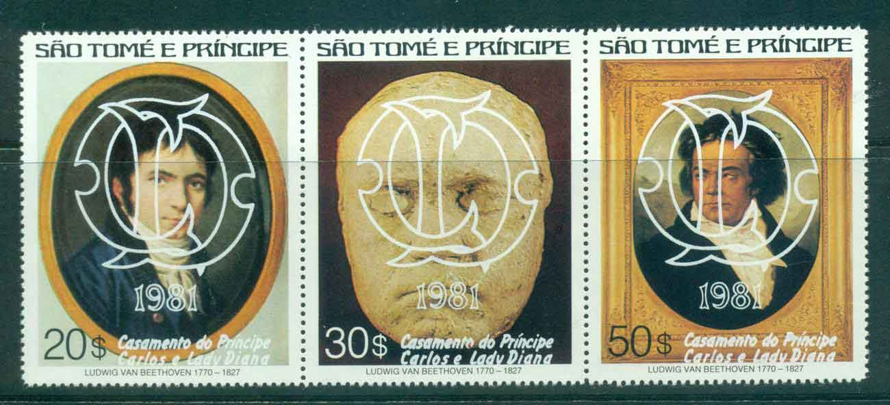 Sao Tome et Principe 1981 Charles & Diana Wedding, Beethoven Str3 White Opt MUH Lot45176