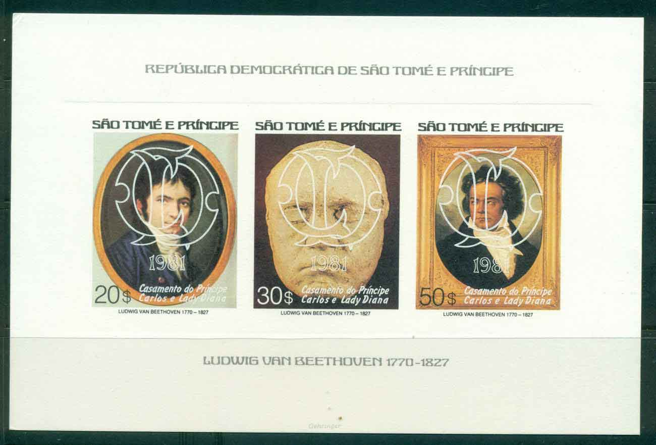 Sao Tome et Principe 1981 Charles & Diana Wedding, Beethoven Str3 White Opt PROOFMUH Lot451780