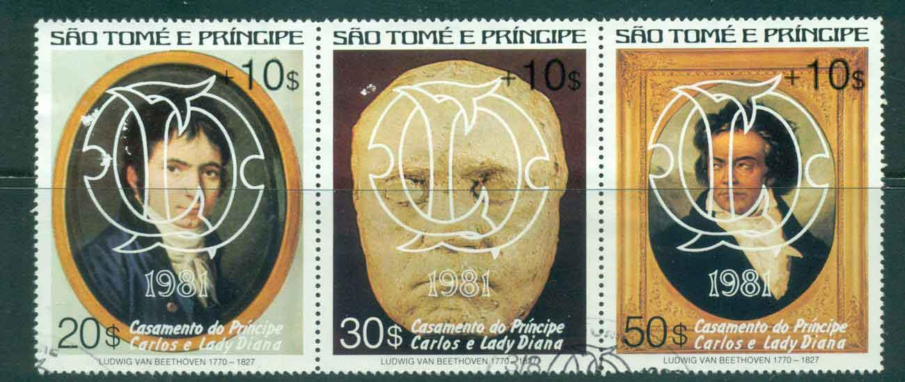 Sao Tome et Principe 1981 Charles & Diana Wedding, Beethoven Surcharged Str3 White Opt FU Lot45181