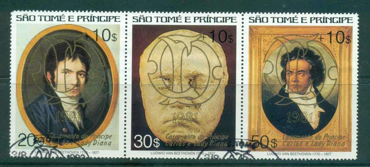 Sao Tome et Principe 1981 Charles & Diana Wedding, Beethoven Surcharged Str3 Gold Opt FU Lot45182