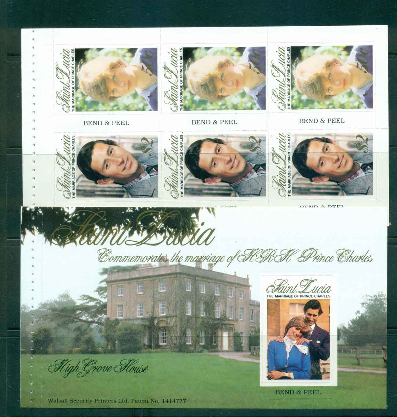 St Lucia 1981 Charles & Diana Wedding P&S Booklet panes 2x MUH Lot45198
