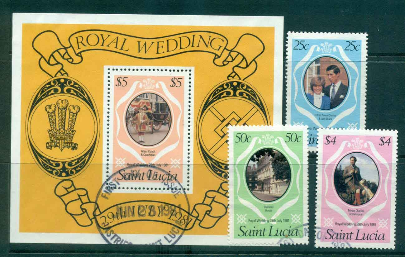 St Lucia 1981 Charles & Diana Wedding + MS FU Lot45200