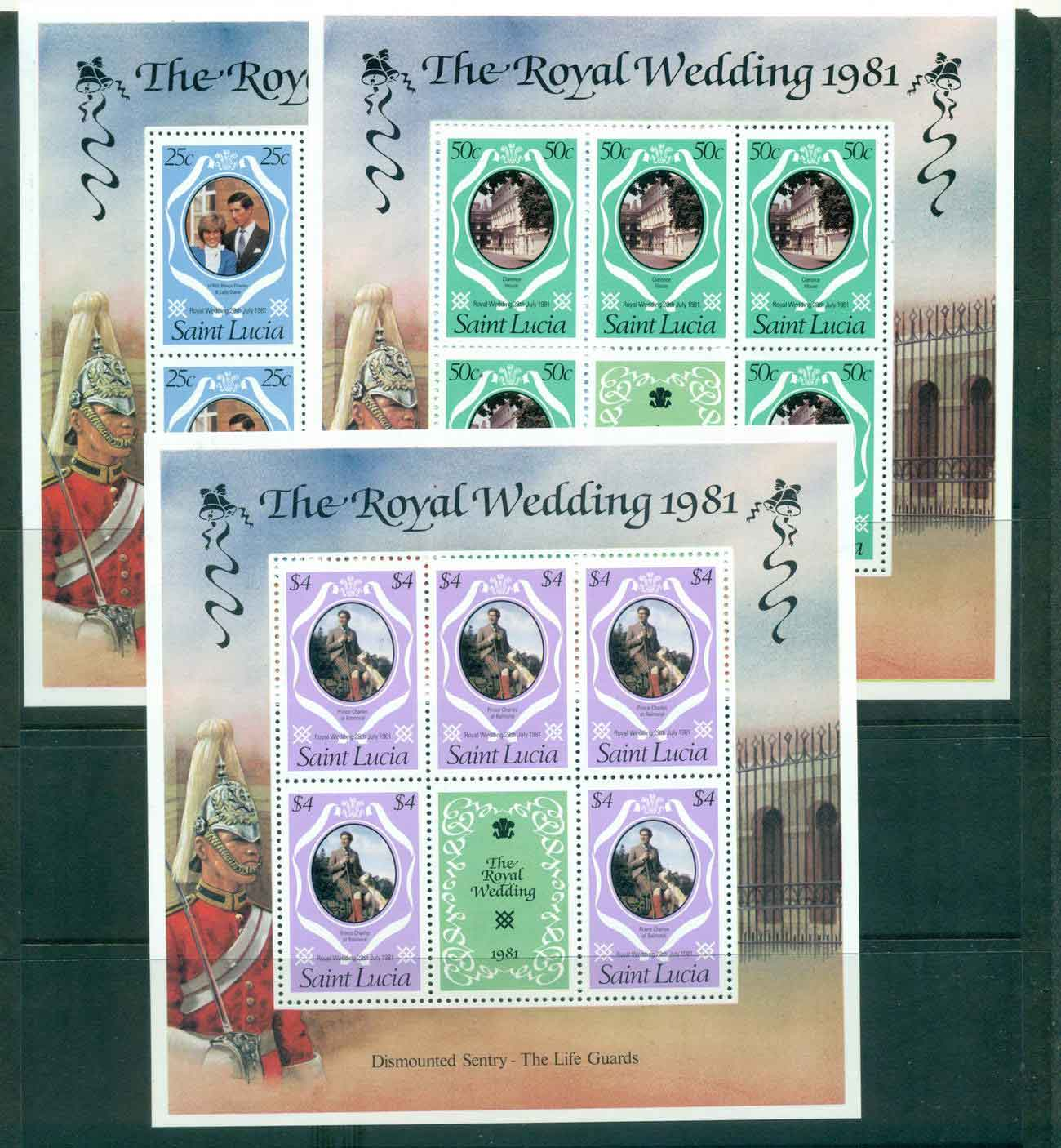 St Lucia 1981 Charles & Diana Wedding revised colours 3x Sheetlets MUH Lot45204