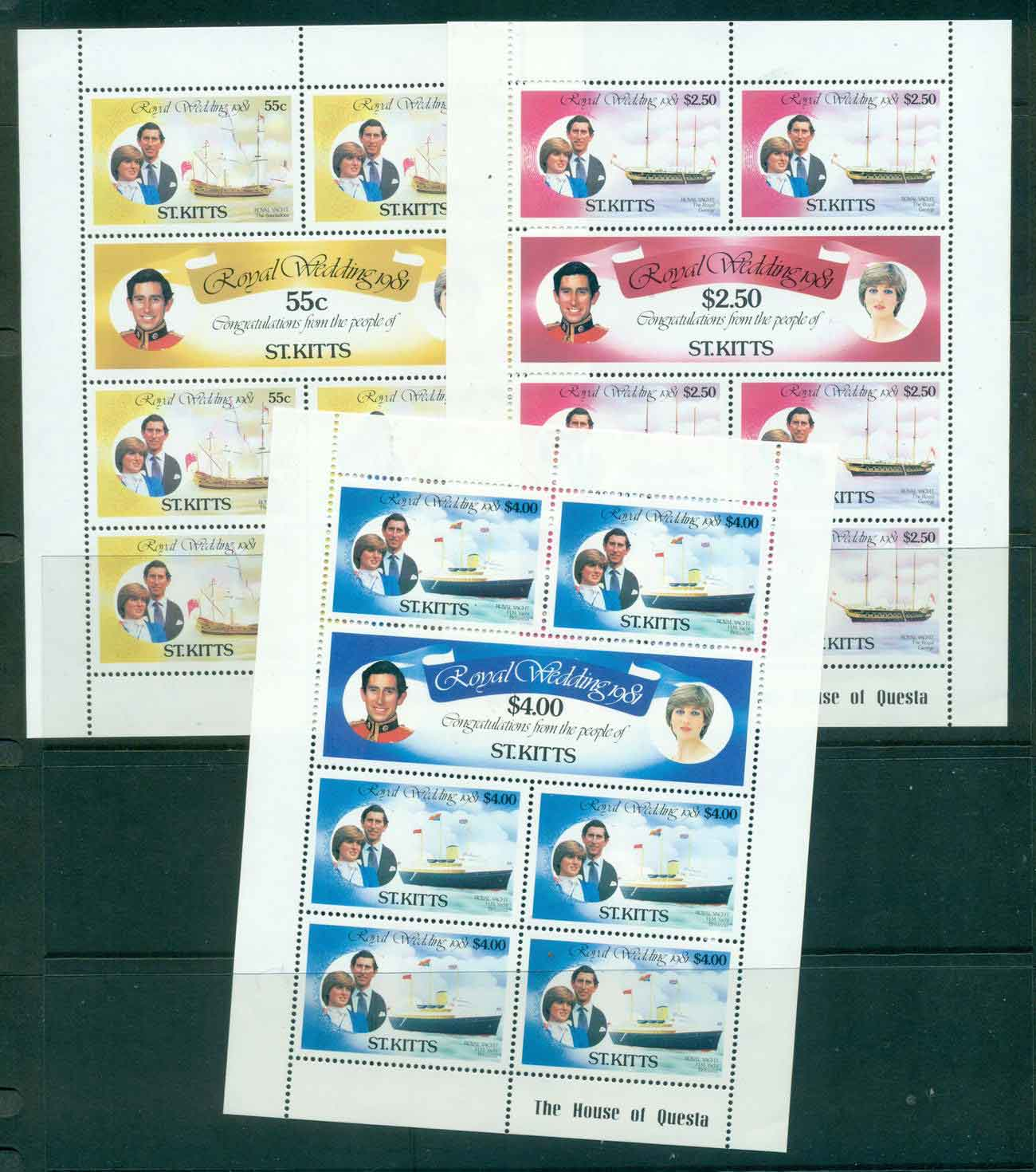 St Kitts 1981 Charles & Diana Wedding 3x Sheetlets MUH Lot45209