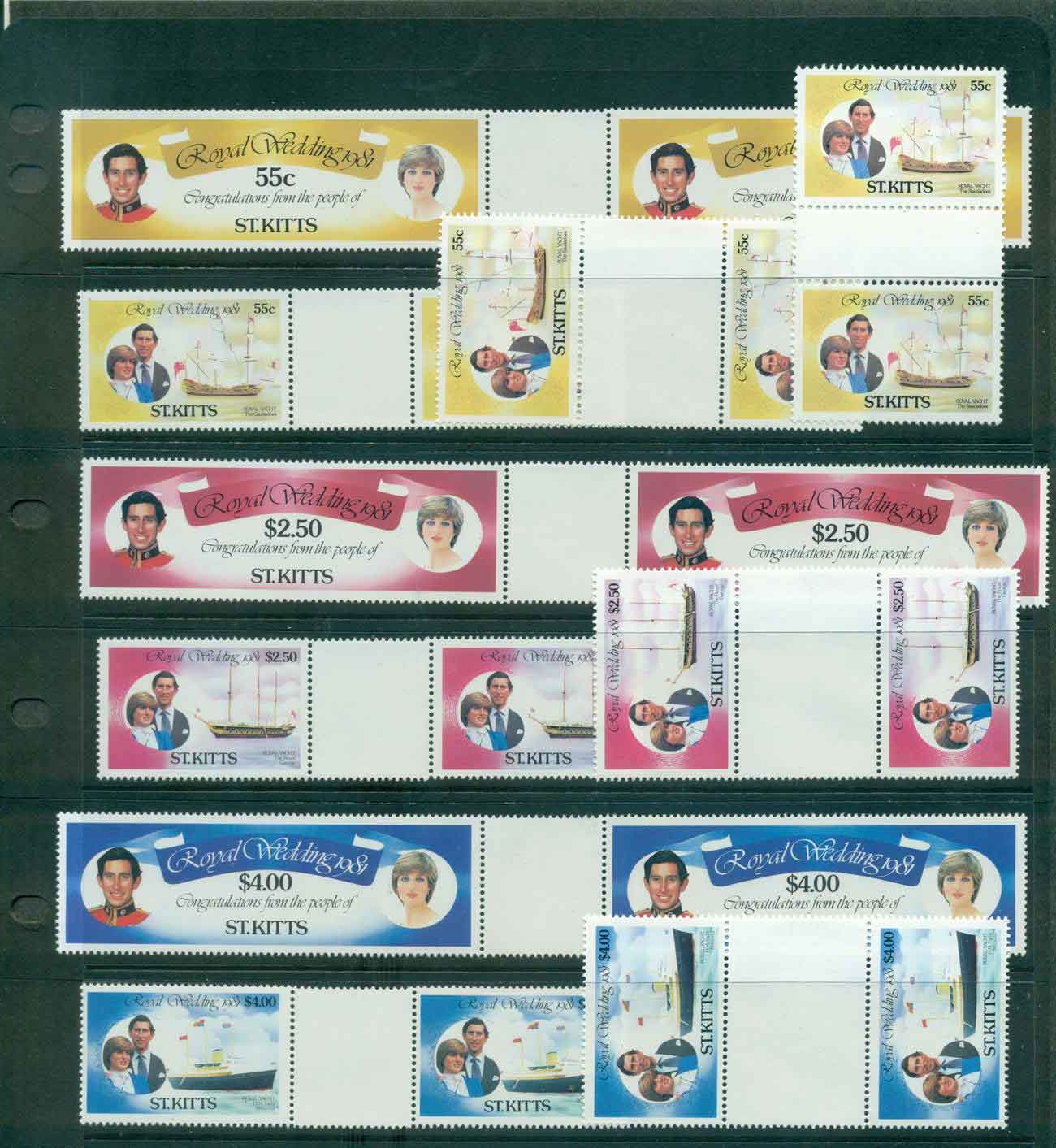 St Kitts 1981 Charles & Diana Wedding Gutter prs. MUH Lot45210