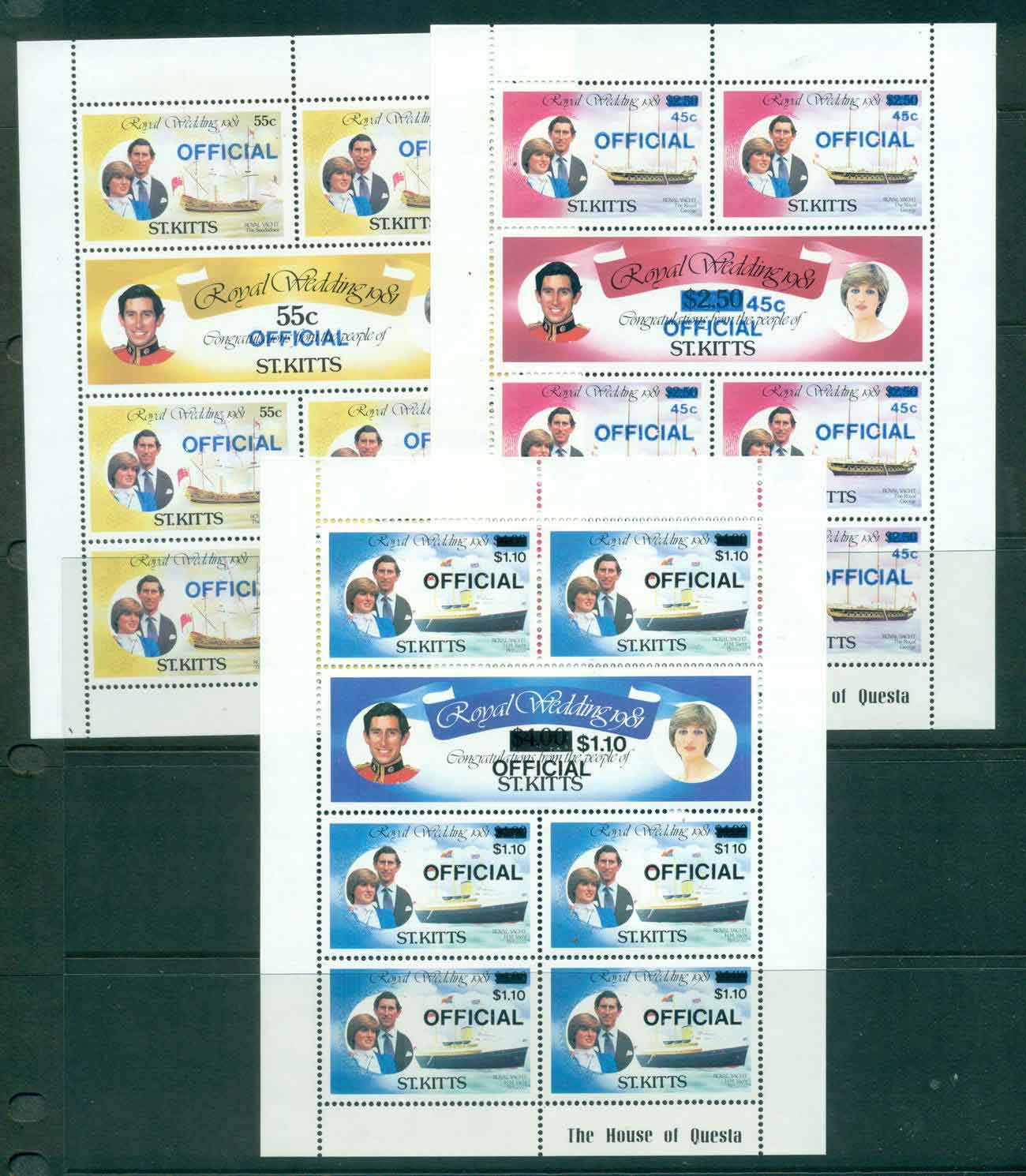 St Kitts 1981 Charles & Diana Wedding OFFICIAL 3x Sheetlets MUH Lot45213