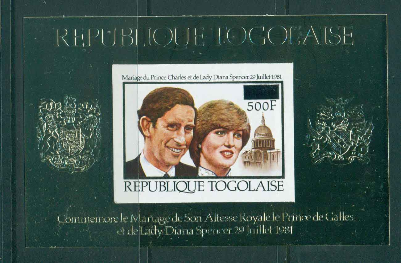 Togo 1981 Charles & Diana Wedding MS Surcharged PROOF MUH Lot45284