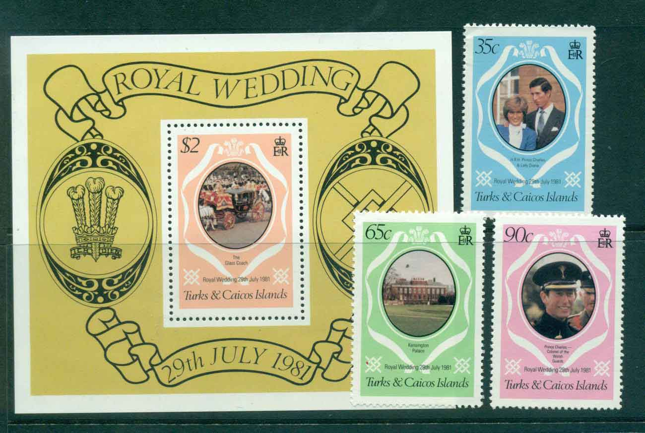 Turks & Caicos Is 1981 Charles & Diana Wedding + MS MUH Lot45285