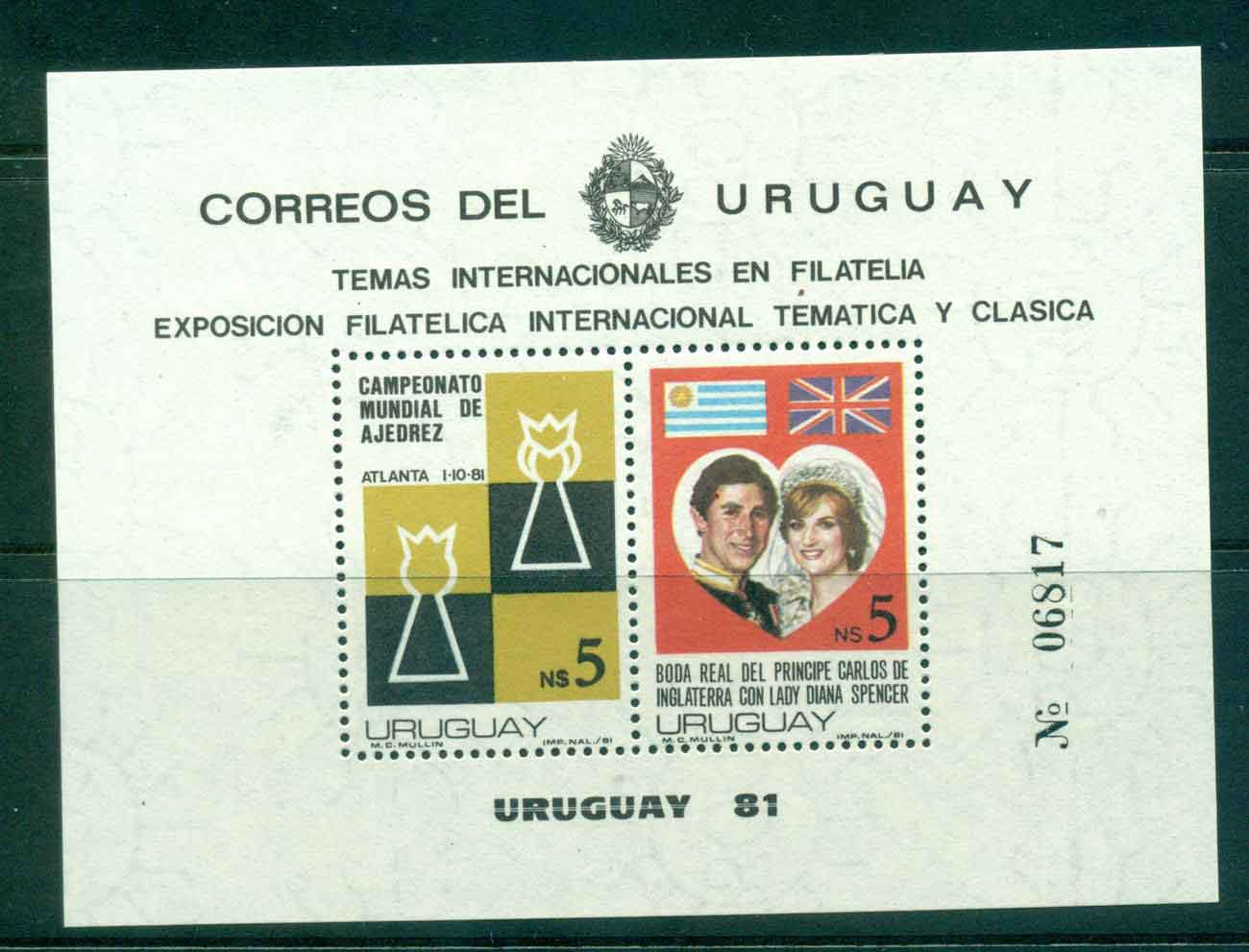 Uruguay 1981 Charles & Diana Wedding, Chess MS MUH Lot45318