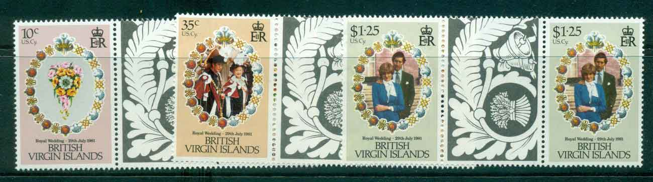 Virgin Is 1981 Charles & Diana Wedding Gutter prs. MUH Lot45325