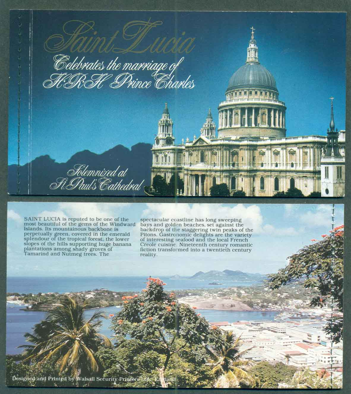 St Lucia 1981 Charles & Diana Wedding Booklet P&S Lot45352