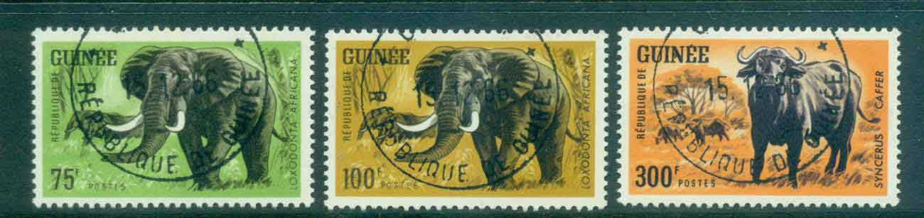 Guinee 1964 African Animals HV 75,100,300f CTO Lot46382