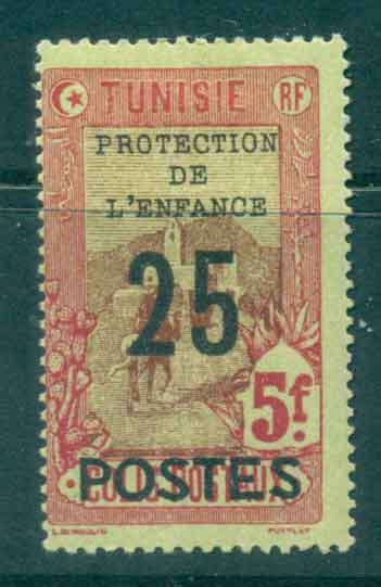 Tunisia 1925 25c on 5fr Child Welfare Opt Surch MLH Lot46418
