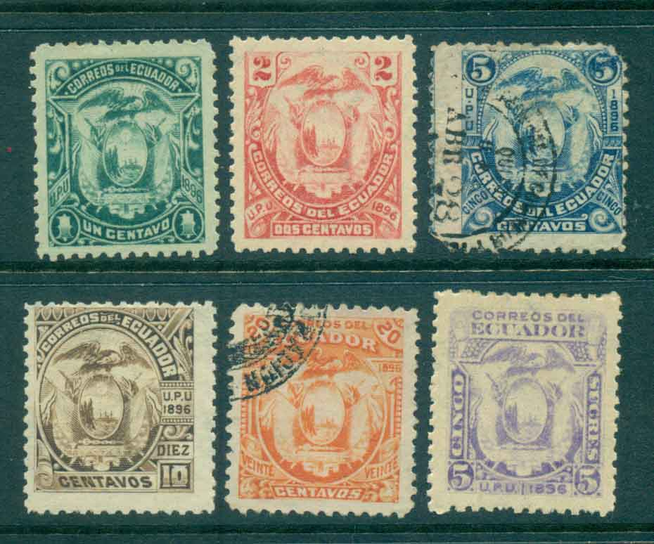 Ecuador 1896 Coat of Arms Asst (6)Wmk. MLH/MH/FU Lot46590