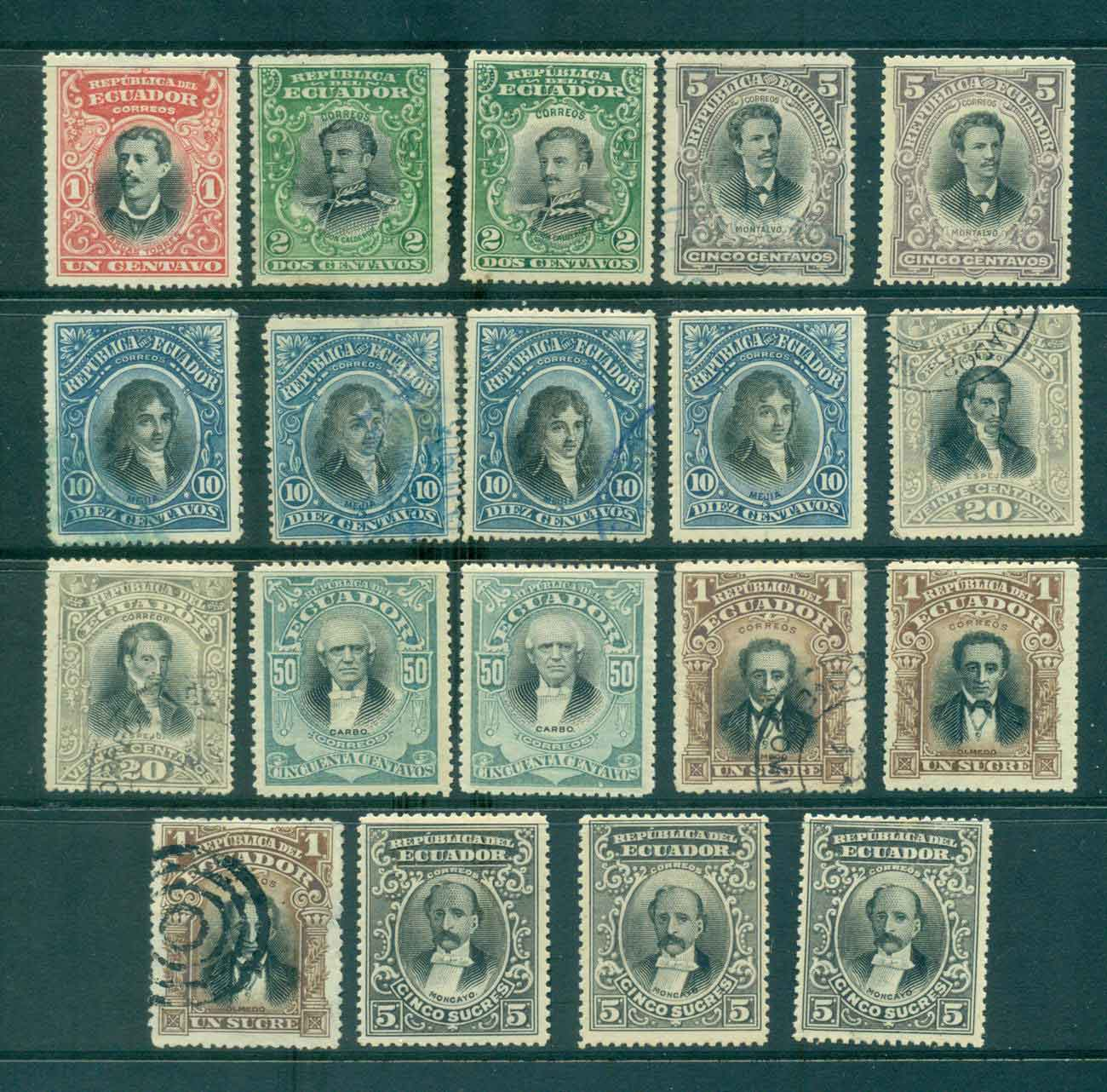 Ecuador 1901 Portraits Asst (19) (faults) MH/FU Lot46599