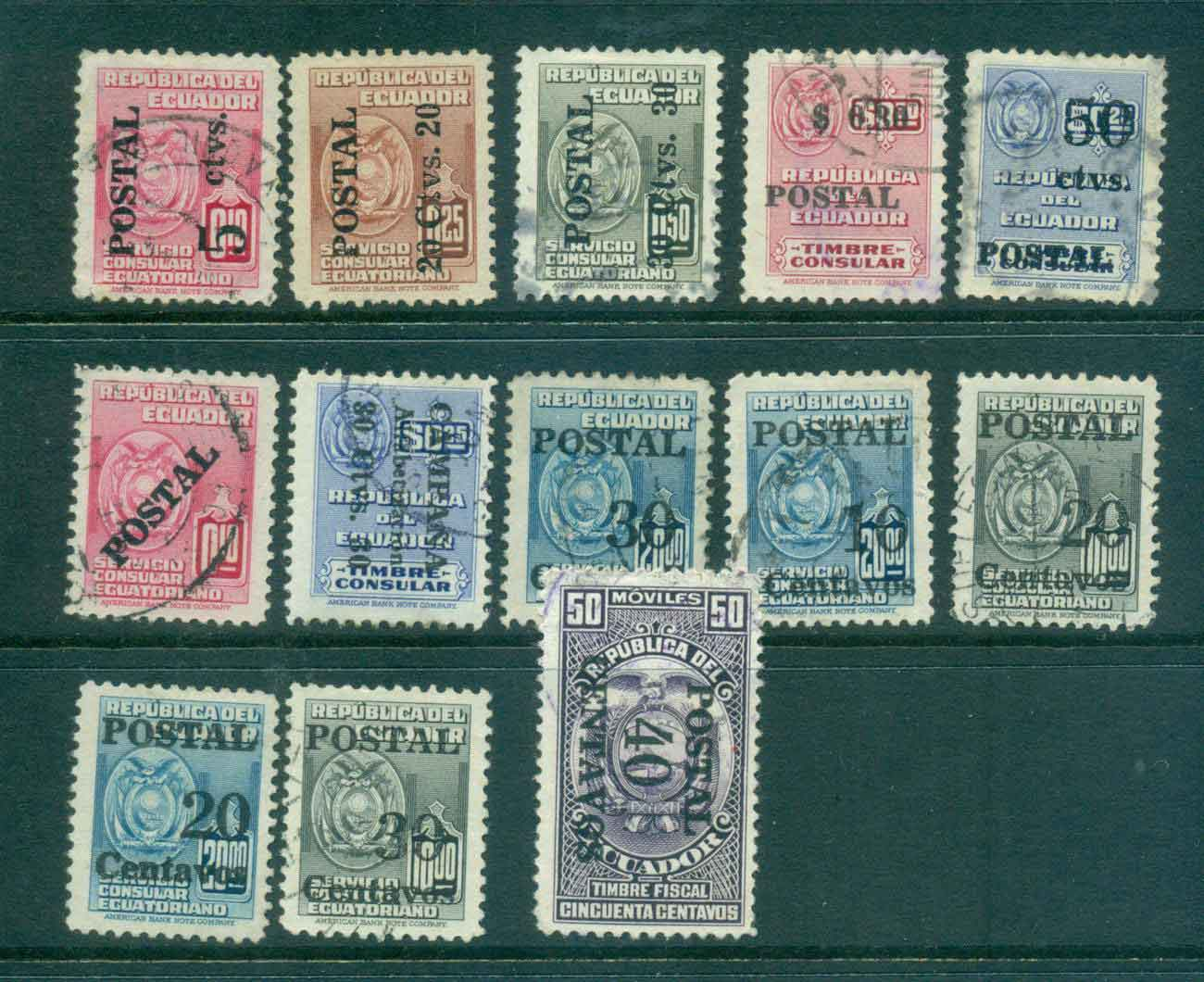 Ecuador 1950-53 Assorted Opt, Surch FU Lot46686