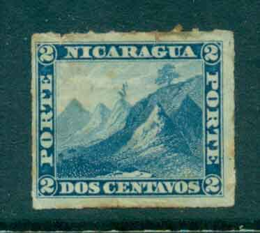 Nicaragua 1878-80 2c Liberty cap on Mountain Rouletted (tone spots) MH Lot46757