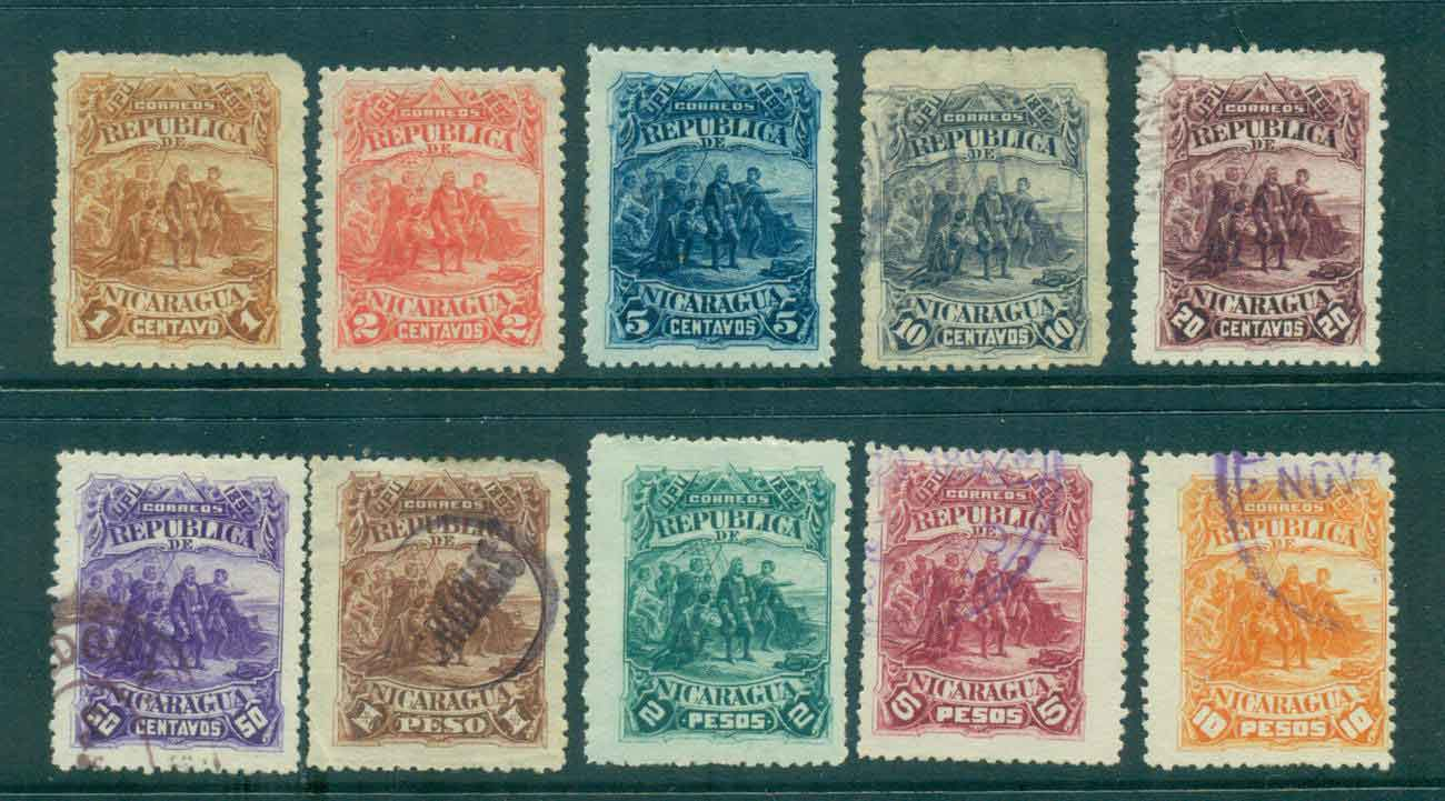 Nicaragua 1892 Columbus Sighting Land (faults,thins,inclusions) MH/FU Lot46763