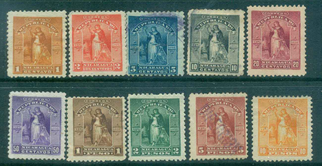 Nicaragua 1894 Victory (faults,thins,inclusions) MH/MNG/FU Lot46765