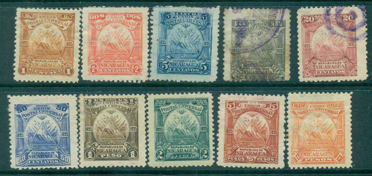 Nicaragua 1895 Coat of Arms (faults,thins,inclusions) MH/MNG/FU Lot46766