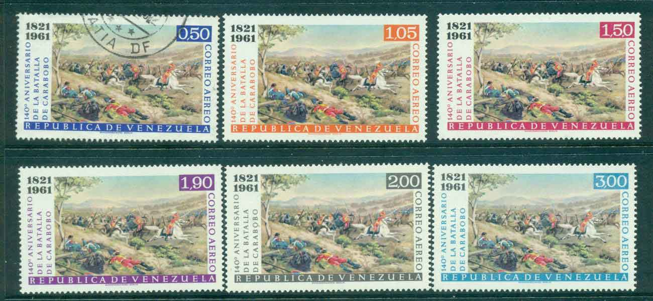 Venezuela 1961 Air Mail Battle of Carabobo FU/MLH Lot46861