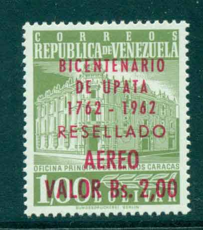 Venezuela 1962 Air Mail Caracas Post Ofice Opt Upata MLH Lot46863