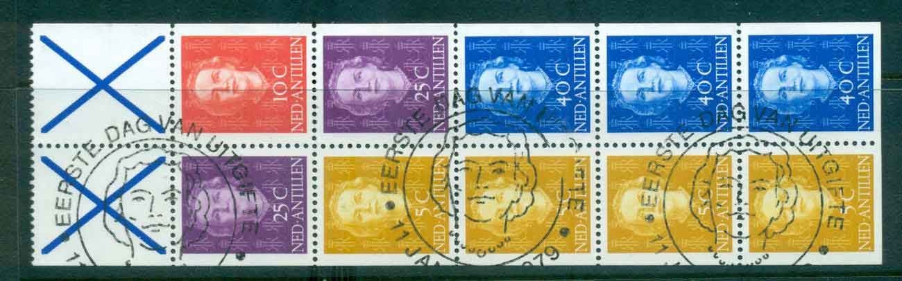 Netherlands Antilles 1979 Queen Juliana 4x5c, 10c, 2x25c, 3x 40c + 2x labels Booklet pane FU Lot47091