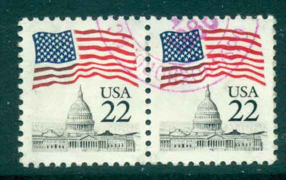 USA 1985 Sc#2114 22c Flag over Capitol Dome pr FU lot47329