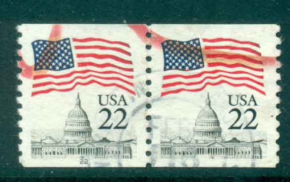 USA 1985 Sc#2115 22c Flag over Capitol Dome Coil pr FU lot47333