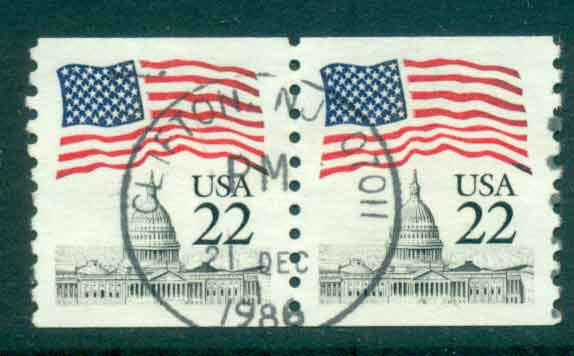USA 1985 Sc#2115 22c Flag over Capitol Dome Coil pr FU lot47334