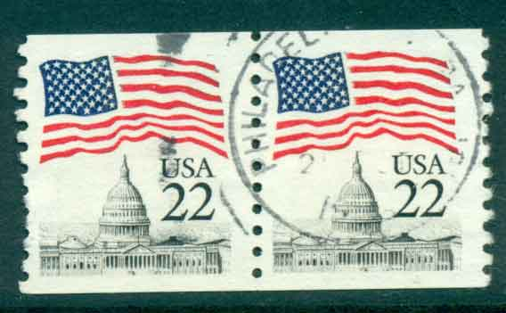 USA 1985 Sc#2115 22c Flag over Capitol Dome Coil pr FU lot47335