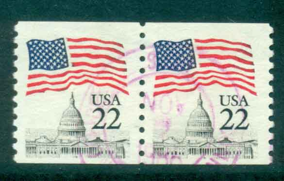 USA 1985 Sc#2115 22c Flag over Capitol Dome Coil pr FU lot47336