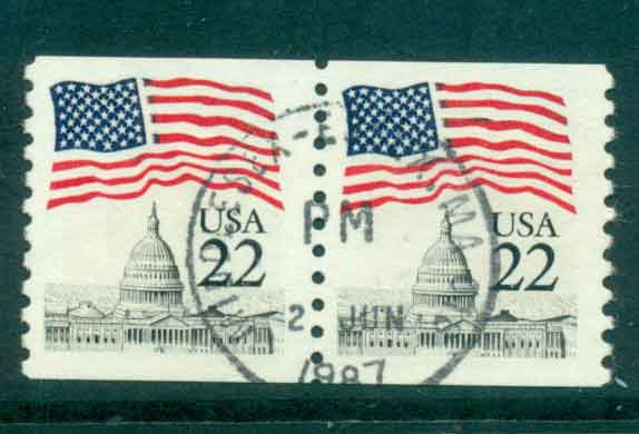 USA 1985 Sc#2115 22c Flag over Capitol Dome Coil pr FU lot47337