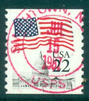 USA 1985 Sc#2115 22c Flag over Capitol Dome Coil FU lot47340
