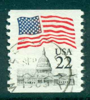 USA 1985 Sc#2115 22c Flag over Capitol Dome Coil FU lot47342