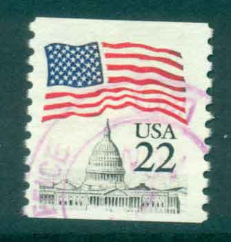 USA 1985 Sc#2115 22c Flag over Capitol Dome Coil FU lot47343