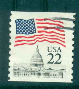 USA 1985 Sc#2115 22c Flag over Capitol Dome Coil FU lot47344