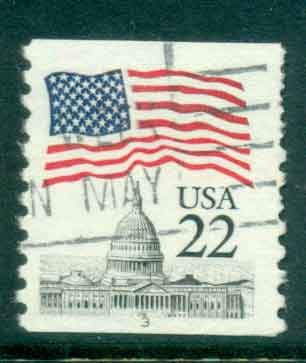 USA 1985 Sc#2115 22c Flag over Capitol Dome Coil PNS#3 FU lot47349
