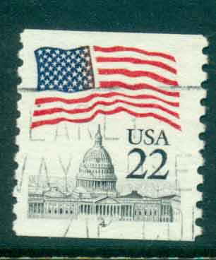 USA 1985 Sc#2115 22c Flag over Capitol Dome Coil PNS#4 FU lot47350