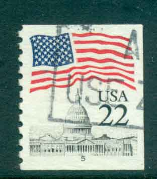 USA 1985 Sc#2115 22c Flag over Capitol Dome Coil PNS#5 FU lot47351