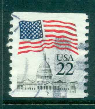 USA 1985 Sc#2115 22c Flag over Capitol Dome Coil PNS#7 FU lot47353