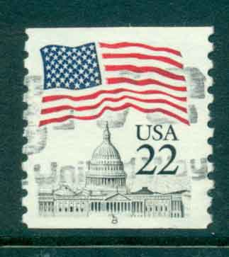 USA 1985 Sc#2115 22c Flag over Capitol Dome Coil PNS#8 FU lot47354